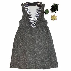 3/25 ANNA SUI GREY MIXED TWEED DRESS